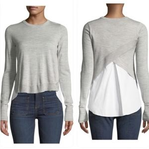 Veronica Beard Alma Gray Wool Sweater
